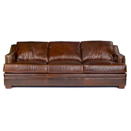USA Premium Leather 9355 Track Arm Sofa w/ Nailhead Trim