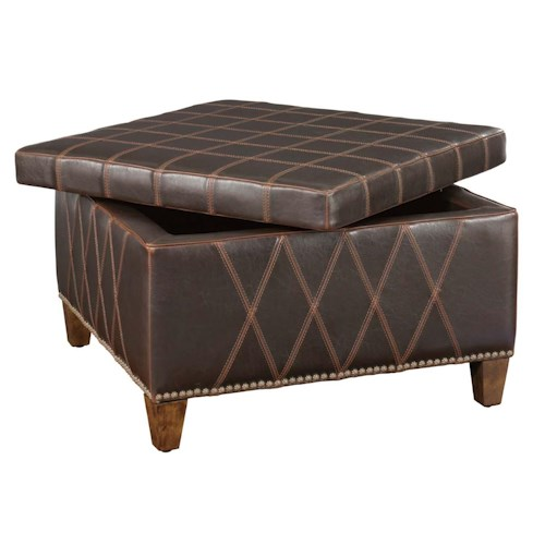 Uttermost Accent Furniture Wattley Storage Ottoman with Decorative Stitching