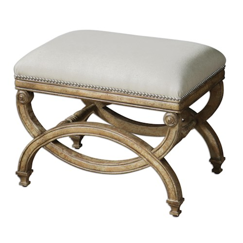 Uttermost Accent Furniture Karline Small Bench with Ornate Wood Accents