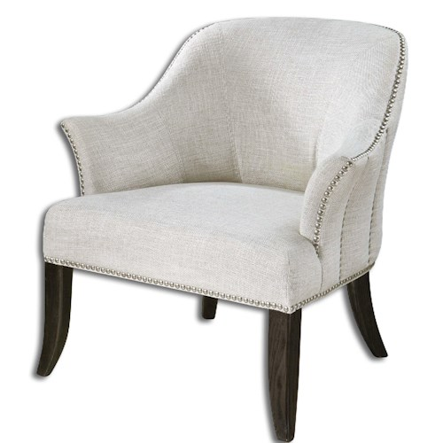 Uttermost Accent Furniture Leisa White ArmChair