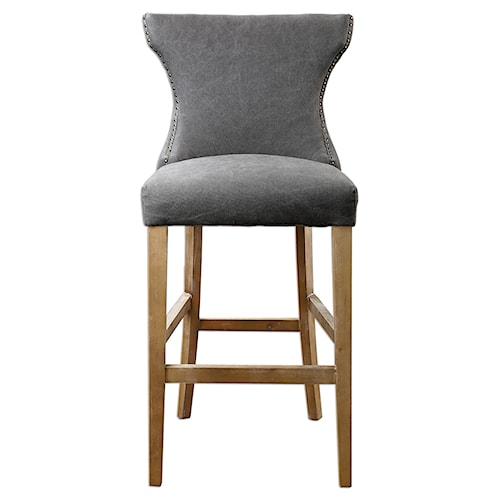 Uttermost Accent Furniture Gamlin Gray Bar Stool