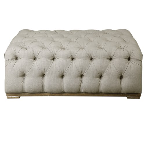 Uttermost Accent Furniture Kaniel Tufted Antique White Ottoman