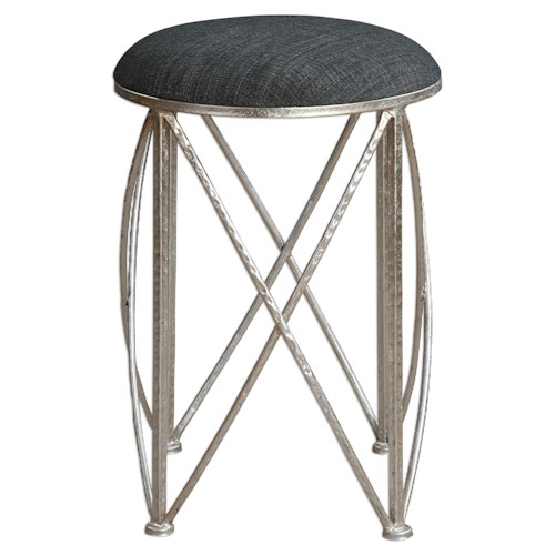 Uttermost Accent Furniture Delaine Silver Small Stool