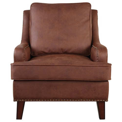 Uttermost Accent Furniture  Henry Tanned Leather Arm Chair