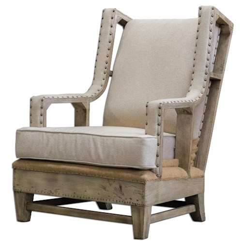 Uttermost Accent Furniture Schafer Linen Arm Chair