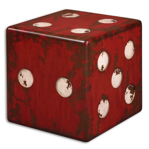 Uttermost Accent Furniture Dice Red Accent Table