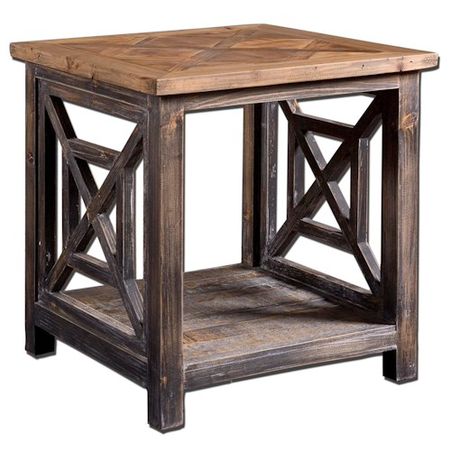 Uttermost Accent Furniture Spiro Rustic Cottage End Table