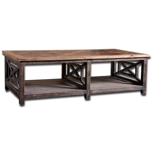 Uttermost Accent Furniture Spiro Rustic Cottage Cocktail Table
