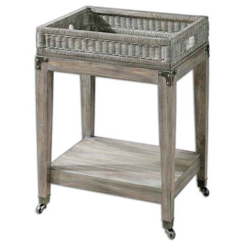Uttermost Accent Furniture Davaughn Wooden Serving Cart