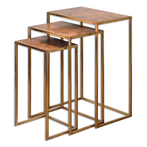 Uttermost Accent Furniture Copres Oxidized Nesting Tables Set/3