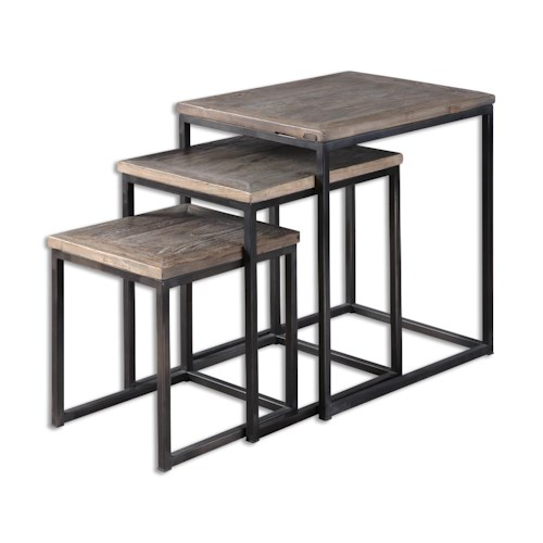 Uttermost Accent Furniture Bomani Wood Nesting Tables Set/3