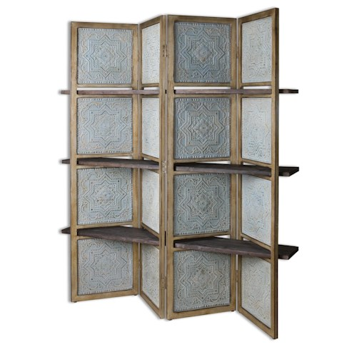 Uttermost Accent Furniture Anakaren Screen with Shelves