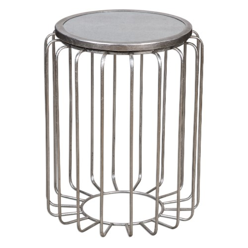 Uttermost Accent Furniture Valerio Antiqued Silver Accent Table