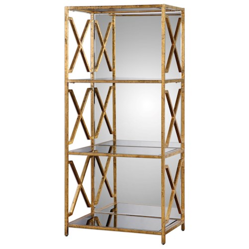 Uttermost Accent Furniture Deedra Mirrored Etagere