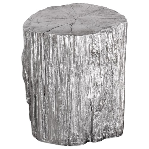 Uttermost Accent Furniture  Cambium Silver Tree Stump Stool