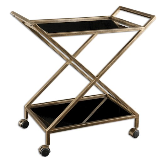 Uttermost Accent Furniture Zafina Gold Bar Cart