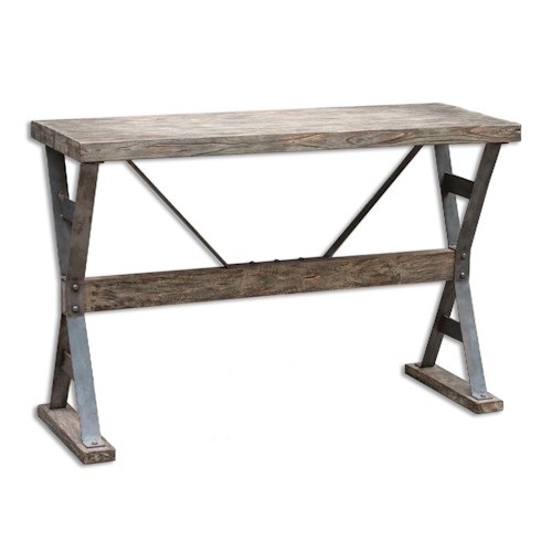 Uttermost Accent Furniture Makoto Wooden Industrial Sofa Table