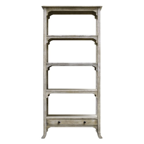 Uttermost Accent Furniture Bridgely Aged White Etagere