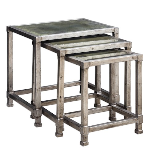 Uttermost Accent Furniture Keanna Antiqued Silver Nesting Tables, S/3
