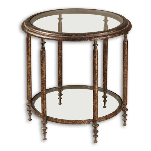 Uttermost Accent Furniture Leilani Gold Toned Glass Accent Table