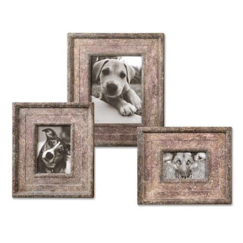 Uttermost Accessories Zana Red Distressed Photo Frames, S/3