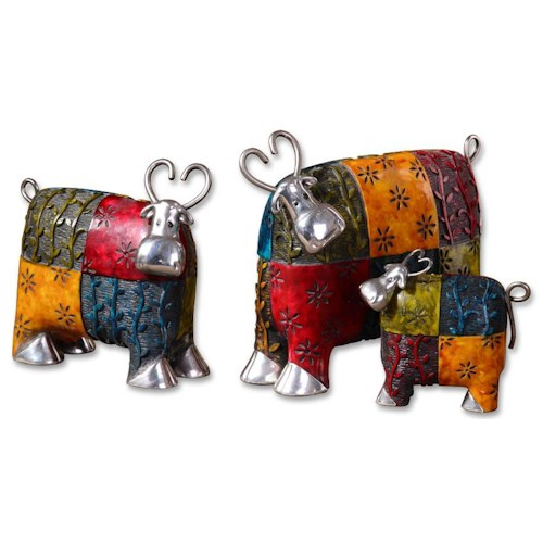 Uttermost Accessories Colorful Cows Accessories Set of 3