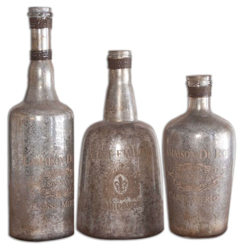 Uttermost Accessories Lamaison Mercury Glass Bottles
