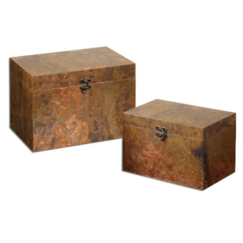 Uttermost Accessories Ambrosia Copper Boxes, Set of  2