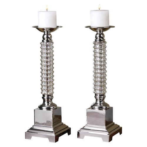 Uttermost Accessories Ardex Mercury Glass Candleholders, Set of  2