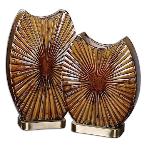 Uttermost Accessories Zarina Marbled Ceramic Vases Set of 2
