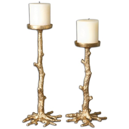 Uttermost Accessories Maple Gold Candleholders, Set of 2