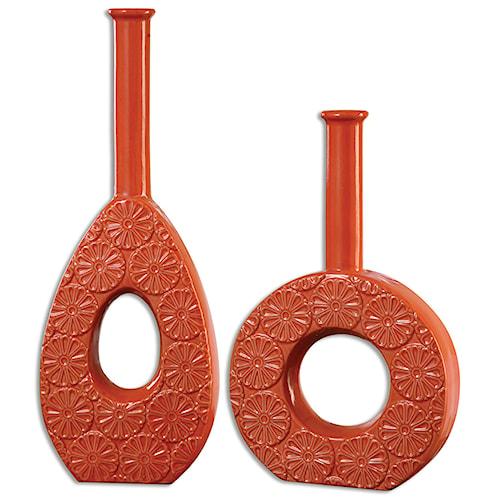 Uttermost Accessories Ace Orange Vases S/2