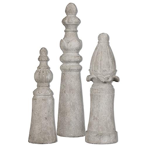 Uttermost Accessories Asmund Aged Ivory Finials S/3