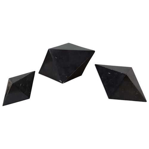 Uttermost Accessories Rhombus Black Marble Sculpture S/3
