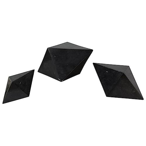 Uttermost Accessories Rhombus Black Marble Sculpture S/3