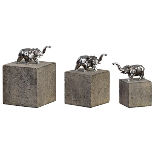 Uttermost Accessories Tiberia Elephant Sculpture S/3