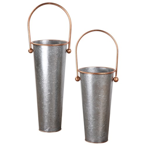 Uttermost Accessories  Ortensia Galvanized Flower Buckets (Set of 2)