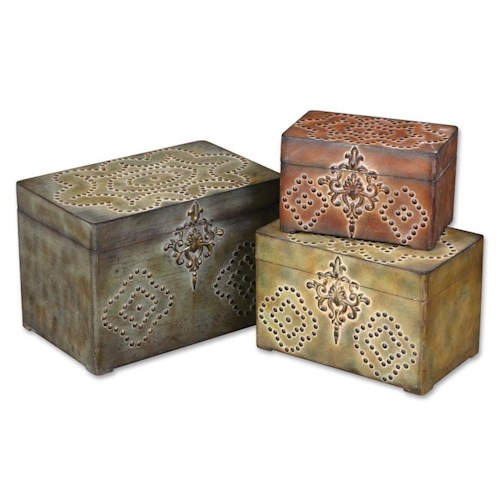 Uttermost Accessories Hobnail Boxes Set of 3