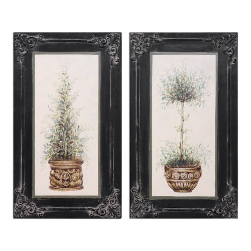 Uttermost Art Topiaries Hand Painted Art, S/2