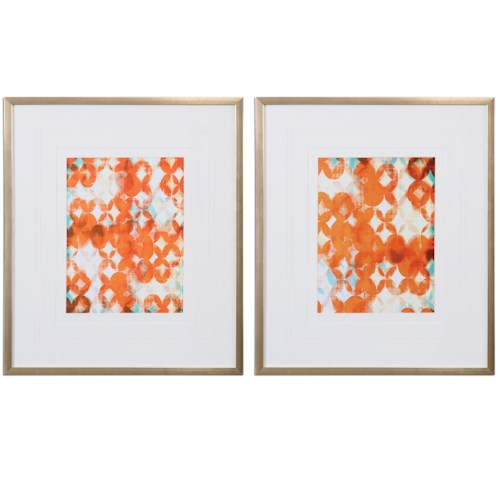 Uttermost Art Overlapping Teal And Orange Modern Art, S/2