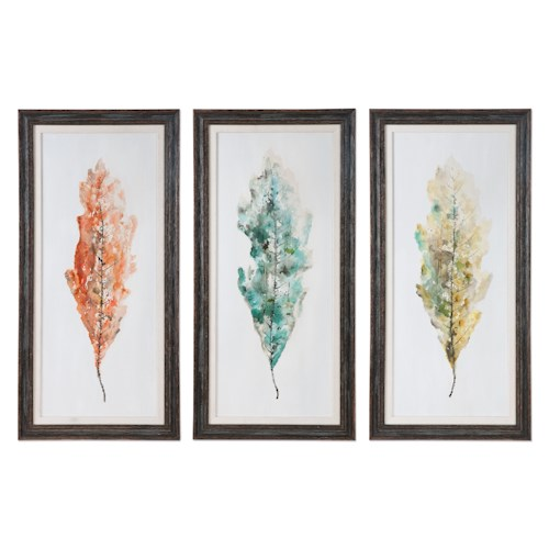 Uttermost Art Tricolor Leaves Abstract Art, S/3