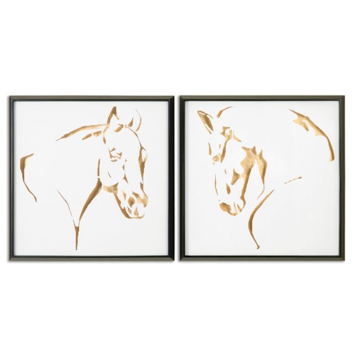 Uttermost Art Golden Horses Framed Art, S/2
