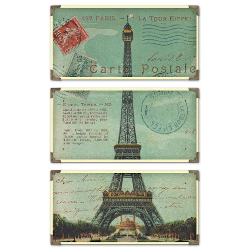 Uttermost Art Eiffel Tower Carte Postale Set of 3
