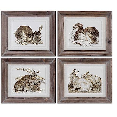 Uttermost Art Regal Rabbits Framed Art