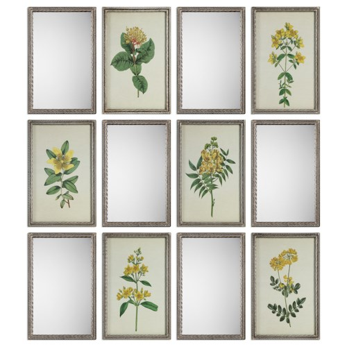 Uttermost Art Diamond Florals And Mirrors (Set of 12)