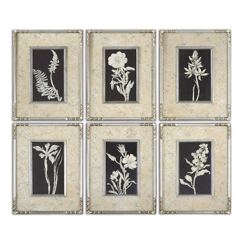 Uttermost Art Glowing Florals Framed Art, Set of 6