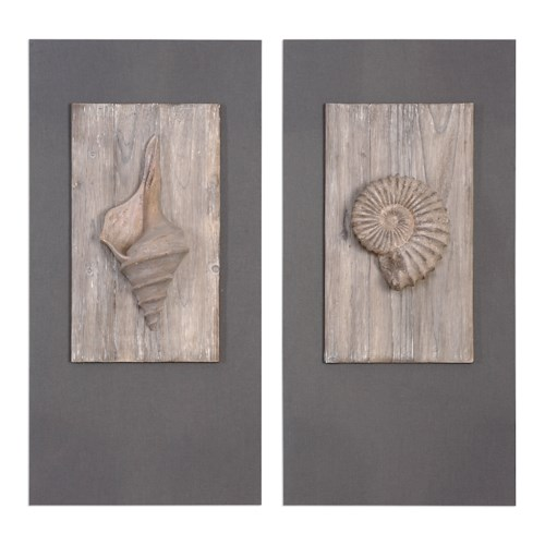 Uttermost Art Shell Sculpture Art, S/2