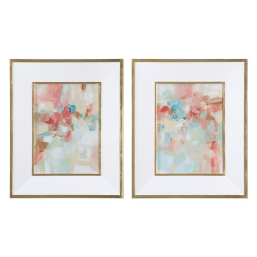 Uttermost Art A Touch Of Blush And Rosewood Fences Art, S/2
