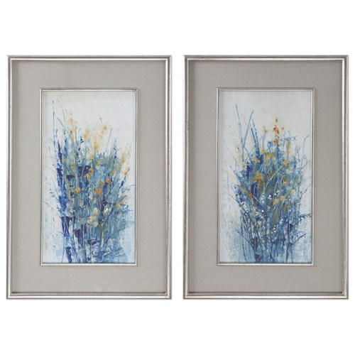 Uttermost Art Indigo Florals Framed Art S/2
