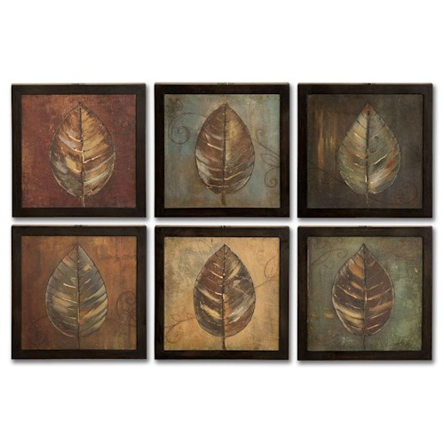 Uttermost Art New Leaf Panel Set of 6
